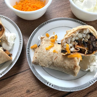Simple Black Bean and Barley Vegetarian Burritos.