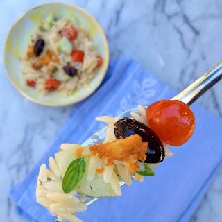Greek Orzo Salad with Crispy Feta.