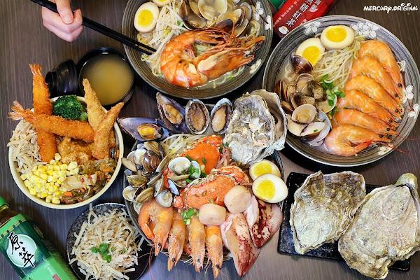 兆曜拉麵丼飯|台中首見巨無霸痛風拉麵,手掌大生蠔、螃蟹、透抽8種海鮮全下,內用免費加麵、麥茶暢飲