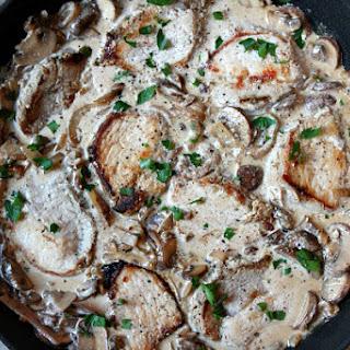 One Pan Pork with Creamy Mushroom Sauce.