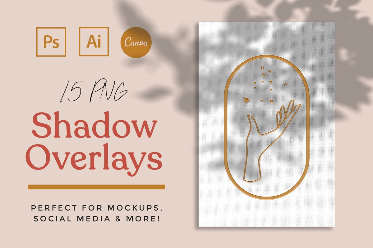 Photography Creative Mock Ups Palm Leaf Shadow Overlay Clip Art PNG Files Set of 12 Floral Greenery