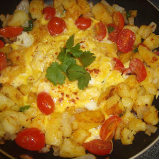 Curried Potatoes and Eggs Scramble.