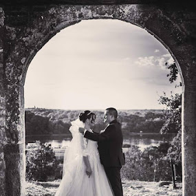 O&M BW by Vlada Jovic - Wedding Bride & Groom ( black and white, wedding, romantic, bride and groom, bride )