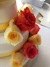 Photo: Up close view of smooth frosting wedding cake adorned with fresh roses.