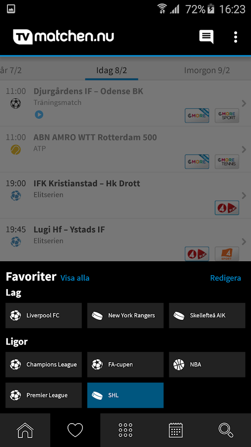 TVmatchen.nu - sport på TV- screenshot