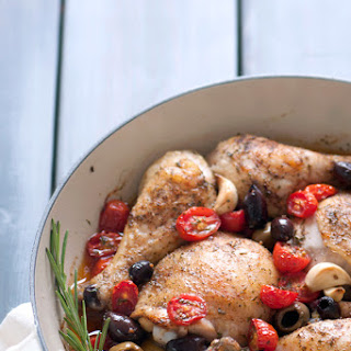 Garlicky Baked Chicken with Olives & Roasted Tomatoes