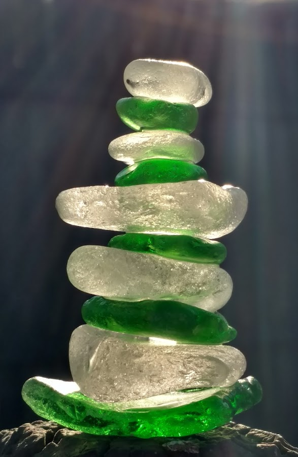 Beach Glass Stack by Nancy Tonkin - Artistic Objects Glass ( stacked, lake michigan, beach glass, glass, beach,  )