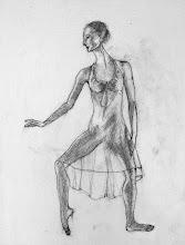 "Photo: Dancer - sketch 2, 2012, 16"" x 20"", graphite, stretched canvas."