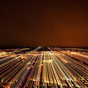 Coming right at me by Jennifer Parmelee - Abstract Patterns ( lights, mountain, sunset, colors, places, smoke, city )