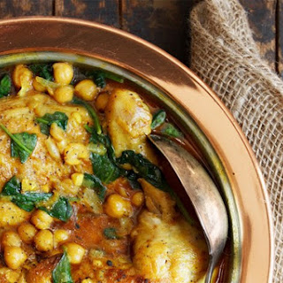 Indian-Spiced Chicken with Chickpeas and Spinach.