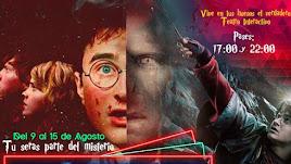 Cartel del Teatro Interactivo con Escape Room de Harry Potter en Almería.