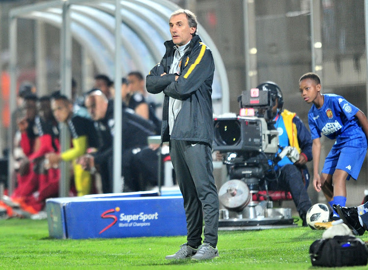 Kaizer Chiefs Italian coach Giovanni Solinas looks during a goalless Absa Premiership match away at Highlands Park in the East Rand township of Tembisa at Makhulong Stadium on October 2 2018.