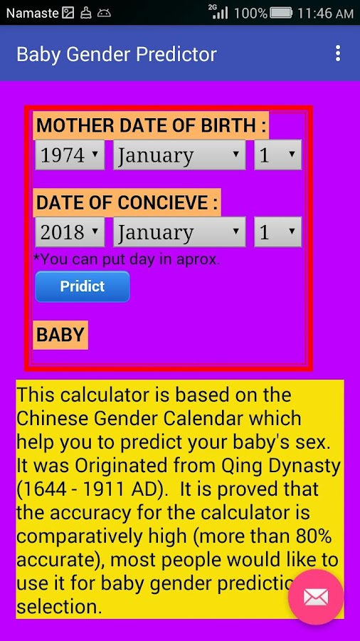 Where can you get an accurate gender calculator?