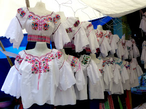 Photo: The traditional embroidered blouses of Otavaleña women