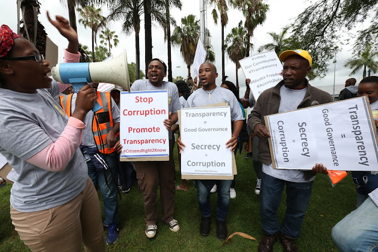 December6 ,2017. Right to know activists protest near te ICC where a council meeting was taking place. The Ethekwini Mayor Zanele Gumede wants to close some of the council meetings to the public.