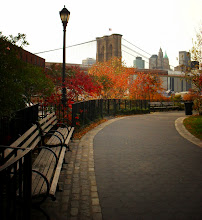 """Photo: """"Somnambulistic...""""  Autumn and the Brooklyn Bridge.  Brooklyn Bridge Park. Dumbo, Brooklyn.  On overcast autumn days, clouds cover the city in a dreamlike haze, wrapping everything in shades of grey and melancholy. Colorful trees and structures awaken the slumbering city from its somnambulistic state.  These last attempts of awakening are the ones remembered vividly before the winter's shades of solitude set in only interrupted by bare branches and cool steel until the city fully awakens in the spring again.  -  You can view this post along with information about prints of this image if you wish at my site here:  http://nythroughthelens.com/post/11187356782/autumn-in-new-york-city-a-view-overlooking-the  #photography #writing #autumn #newyorkcityphotography"""