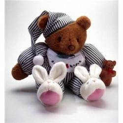 Teddy bear wearing bunny slippers and jammies