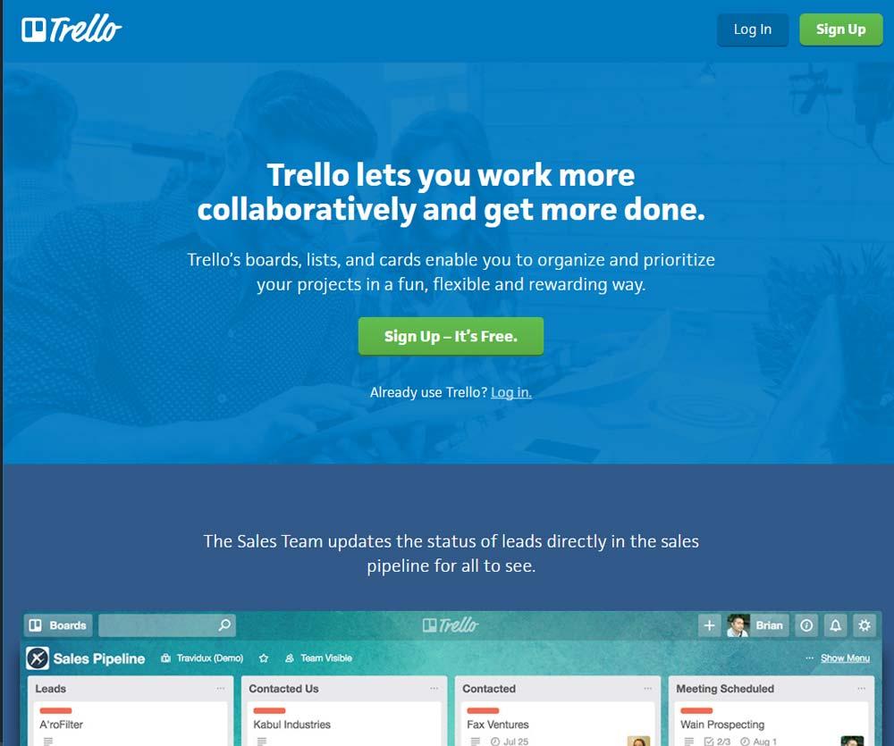 Lead generation landing page Trello