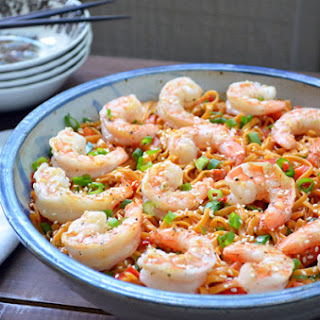 Pasta Salad with Shrimp and Peanut Butter-Ginger Dressing