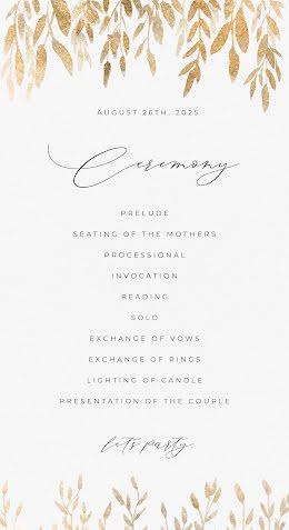 Leafy Ceremony - Wedding Program item