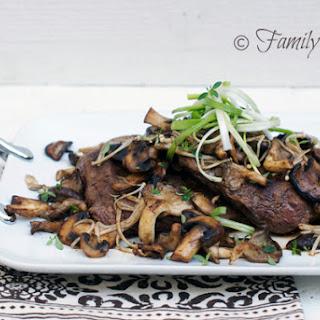 Flank Steak with Garlic & Wild Mushrooms.