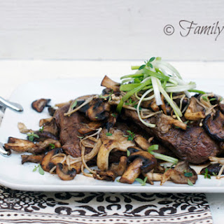 Flank Steak with Garlic & Wild Mushrooms.