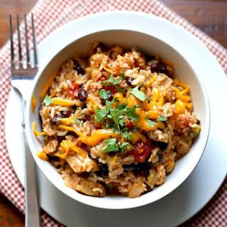 Pressure Cooker Chicken, Black Bean, and Rice Burrito Bowls.