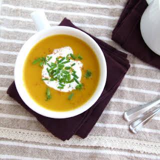 Japanese Pumpkin Soup with Leeks (Kabocha Soup).