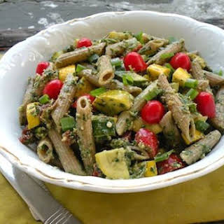 Pasta Salad with Parsley Pesto and Two Squashes.