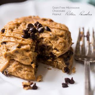 Single Serve Microwave Peanut Chocolate Chip Protein Pancakes.