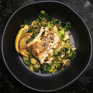 One Pan Lemon Cod with Brussels Sprouts and Kale Recipe