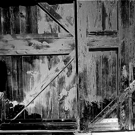 Burnt Door by Edward Gold - Digital Art Things ( digital photography, burnt door, black and white, digital art )