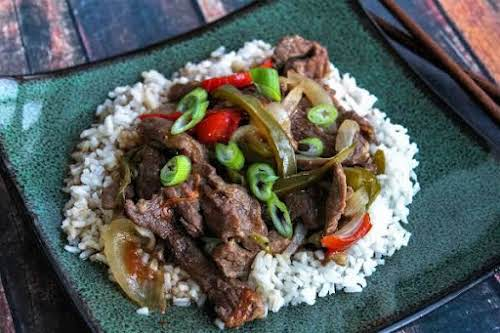 """Pepper Steak on Rice""""I use to make this for us a lot..."""