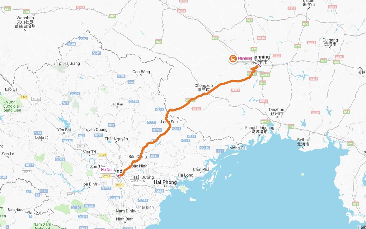Kart over bussreisen fra Nanning, Kina til Hanoi, Vietnam