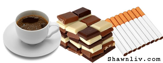 Coffee cigarettes chocolate