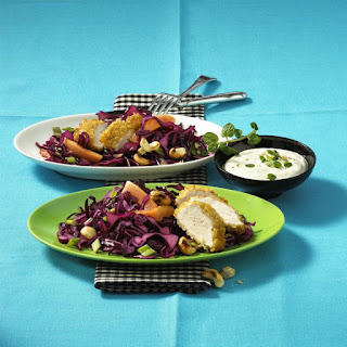 Bulgar Crusted Chicken with Tropical Slaw and Yogurt Dip