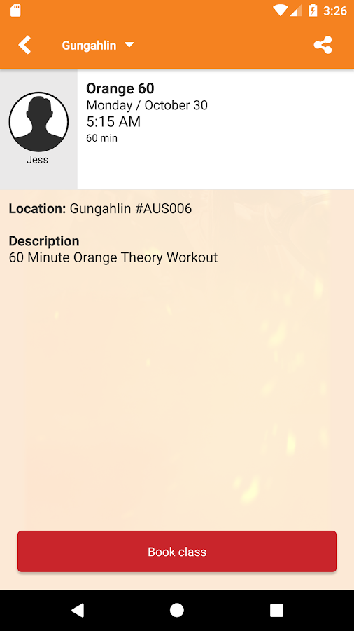 Orangetheory Fitness Booking- screenshot