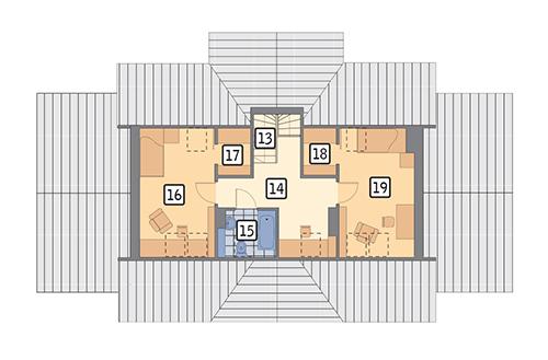 Moje miejsce - wariant I etap I - M03a - Rzut poddasza - II etap realizacji (44,6 m2 powierzchni użytkowej)