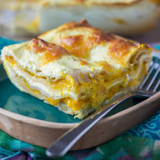 Whole Grain Lasagna with Butternut Squash and Cottage Cheese.