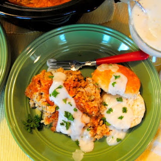 Slow Cooker Country Breakfast With White Pepper Gravy and Biscuits