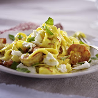 Tagliatelle with Shrimp and Saffron Sauce.