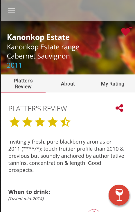Platter's Wine Guide- screenshot