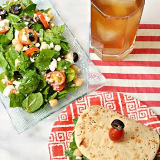 Spinach Feta Salad on Flatbread.
