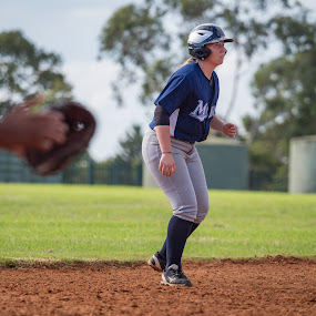 Poised to Run by Jim Merchant - Sports & Fitness Baseball ( poised, shallow dof, female, runner, baseballer )