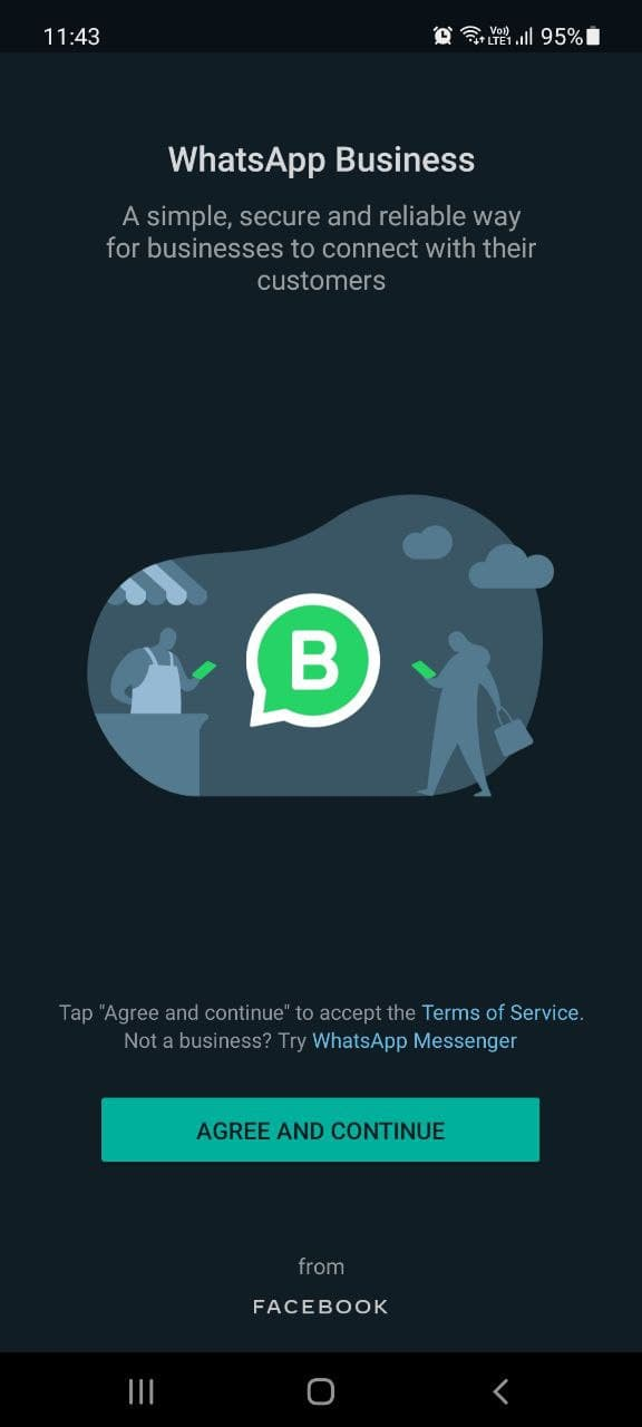 A screenshot of agreement to WhatsApp Business' Terms of Service.