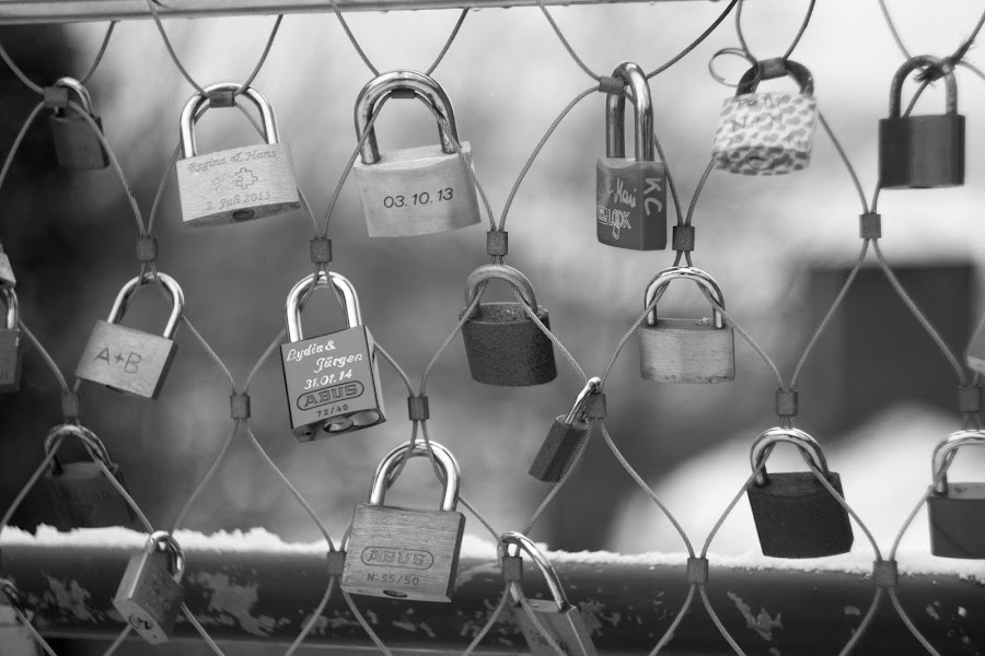 Locksmith by Daniel MV - Black & White Buildings & Architecture ( holiday, black and white, beautiful, snow, lock )