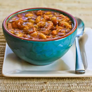 Navy Bean and Refried Bean Stew with Ham, Leeks, and Tomatoes.