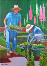 """Photo: Planting (Filoli), acrylic painting7"""" x 5""""by Nancy Roberts, copyright 2015. Private collection."""