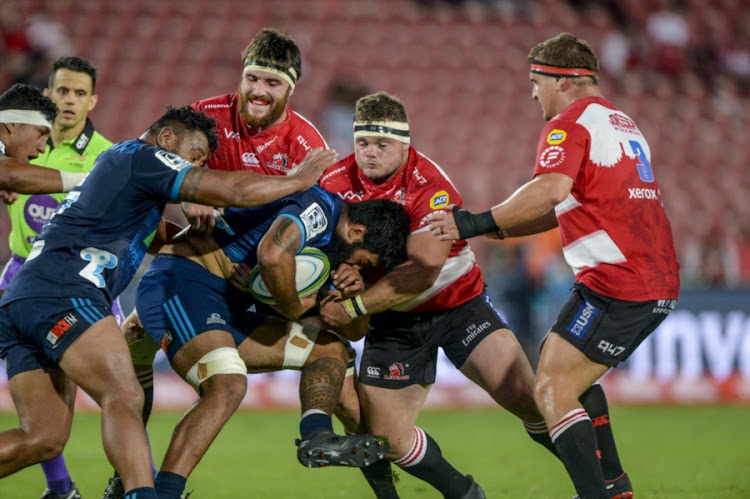 Akira Ioane during the Super Rugby match between Emirates Lions and Blues at Emirates Airline Park on March 10, 2018 in Johannesburg, South Africa.
