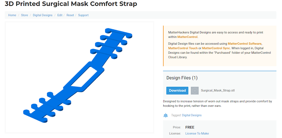 Download and print the Surgical Mask Comfort Strap Model here.